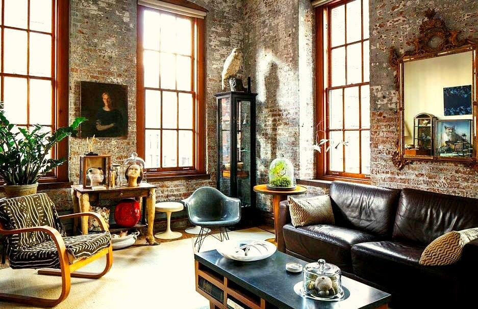 кожаный диван в стиле лофт